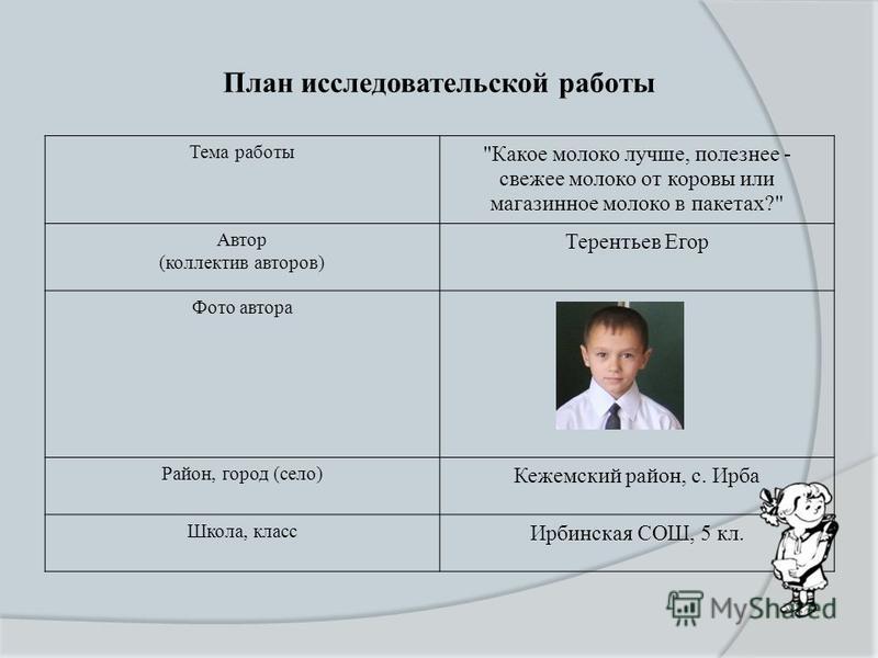 План исследовательской работы Тема работы