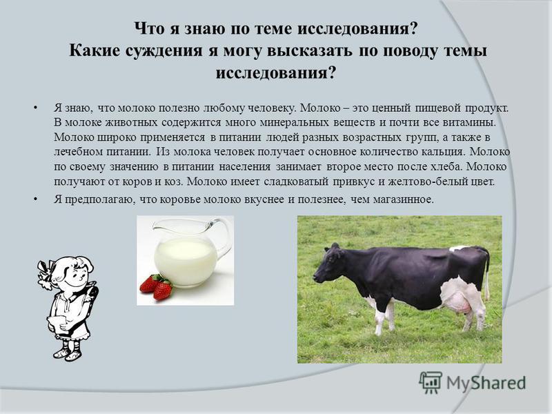 Что я знаю по теме исследования? Какие суждения я могу высказать по поводу темы исследования? Я знаю, что молоко полезно любому человеку. Молоко – это ценный пищевой продукт. В молоке животных содержится много минеральных веществ и почти все витамины