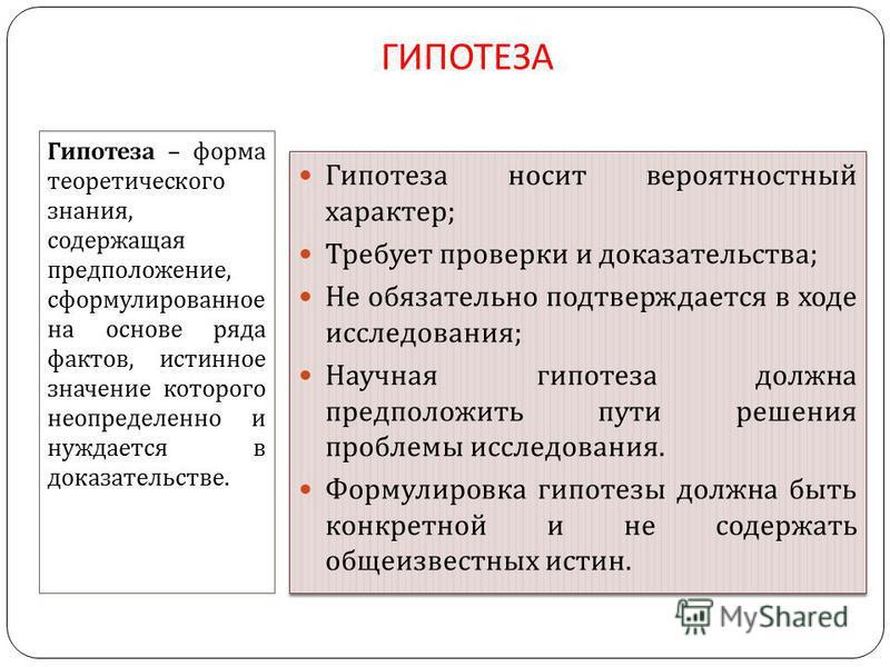 ГИПОТЕЗА Гипотеза – форма теоретического знания, содержащая предположение, сформулированное на основе ряда фактов, истинное значение которого неопределенно и нуждается в доказательстве. Гипотеза носит вероятностный характер ; Требует проверки и доказ