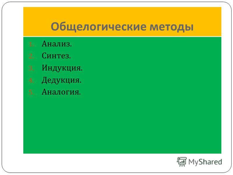 Общелогические методы 1. Анализ. 2. Синтез. 3. Индукция. 4. Дедукция. 5. Аналогия.