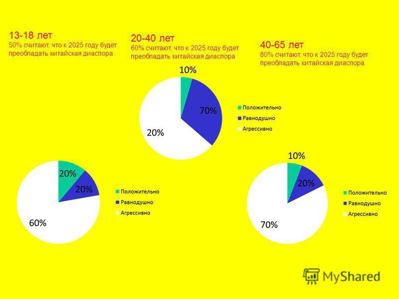 13-18 лет 50% считают, что к 2025 году будет преобладать китайская диаспора 20-40 лет 60% считают, что к 2025 году будет преобладать китайская диаспора 40-65 лет 80% считают, что к 2025 году будет преобладать китайская диаспора