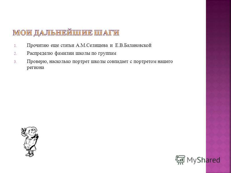1. Прочитаю еще статьи А.М.Селищева и Е.В.Балановской 2. Распределю фамилии школы по группам 3. Проверю, насколько портрет школы совпадает с портретом нашего региона