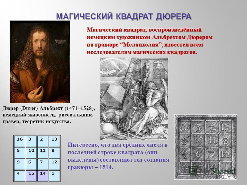 Магический квадрат, воспроизведённый немецким художником Альбрехтом Дюрером на гравюре Меланхолия, известен всем исследователям магических квадратов. Интересно, что два средних числа в последней строке квадрата ( они выделены ) составляют год создани