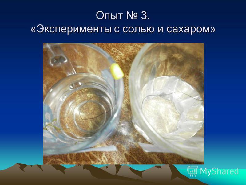 Опыт 3. «Эксперименты с солью и сахаром»