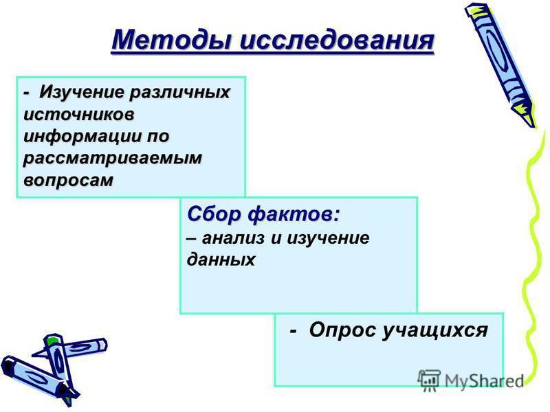 - Изучение различных источников информации по рассматриваемым вопросам Методы исследования Cбор фактов: – анализ и изучение данных - Опрос учащихся