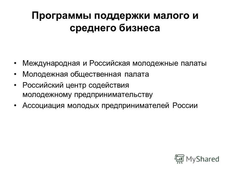 Программы поддержки малого и среднего бизнеса Международная и Российская молодежные палаты Молодежная общественная палата Российский центр содействия молодежному предпринимательству Ассоциация молодых предпринимателей России