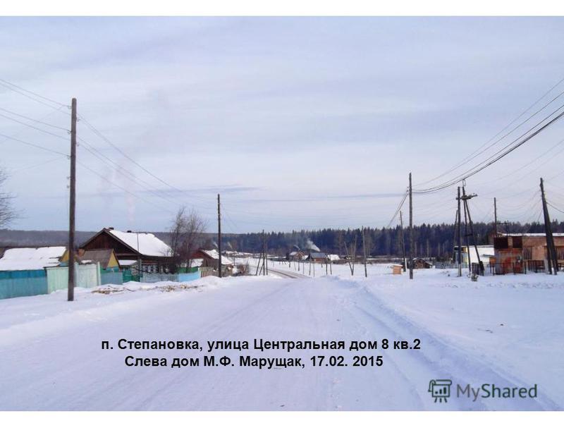 п. Степановка, улица Центральная дом 8 кв.2 Слева дом М.Ф. Марущак, 17.02. 2015