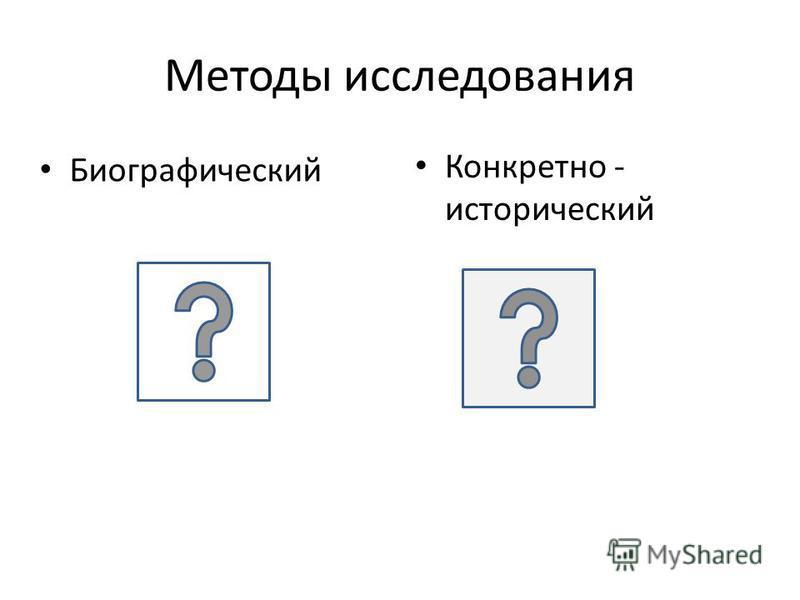 Методы исследования Биографический Конкретно - исторический