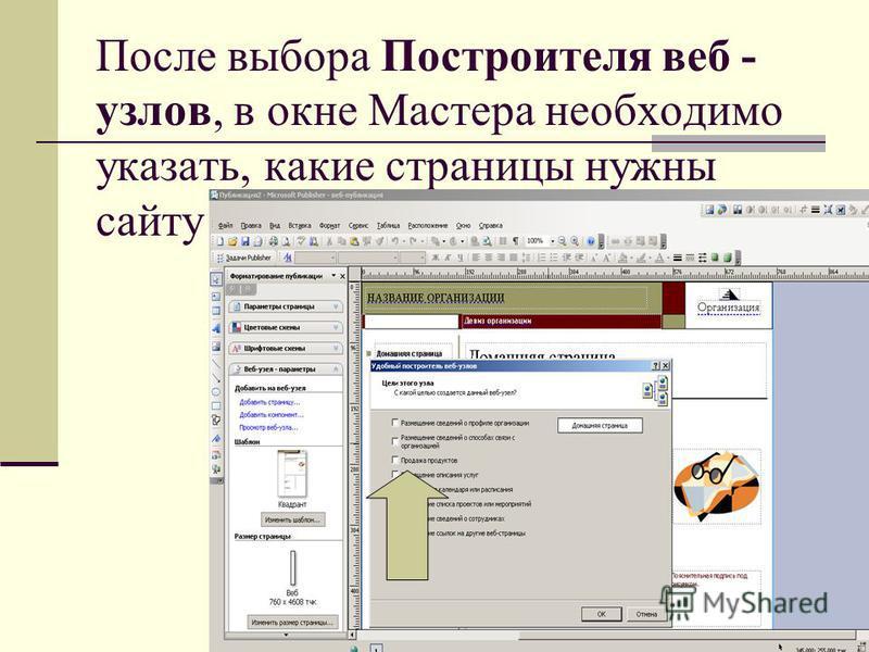 После выбора Построителя веб - узлов, в окне Мастера необходимо указать, какие страницы нужны сайту