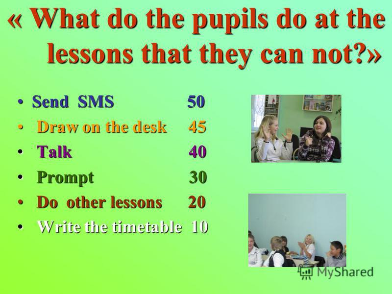 « What do the pupils do at the lessons that they can not?» Send SMS 50Send SMS 50 Draw on the desk 45 Draw on the desk 45 Talk 40 Talk 40 Prompt 30 Prompt 30 Do other lessons 20 Do other lessons 20 Write the timetable 10 Write the timetable 10