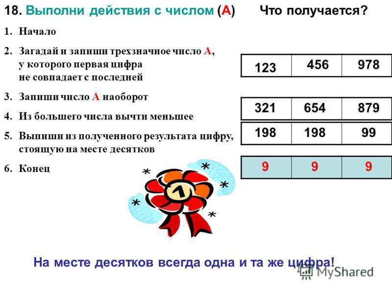18. Выполни действия с числом (А) 1. Начало 2. Загадай и запиши трехзначное число А, у которого первая цифра не совпадает с последней 3. Запиши число А наоборот 4. Из большего числа вычти меньшее 5. Выпиши из полученного результата цифру, стоящую на