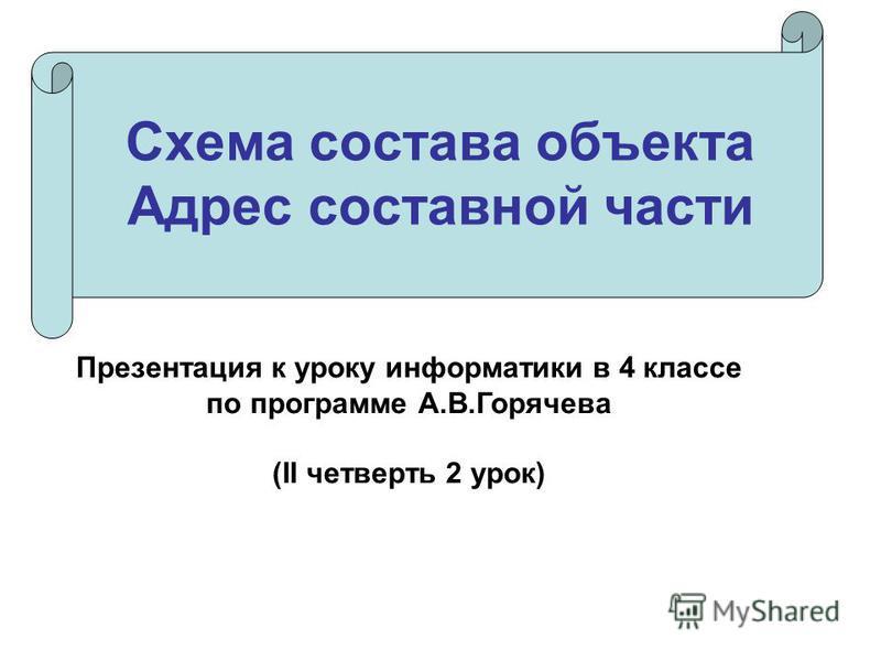 Схема состава объекта Адрес составной части Презентация к уроку информатики в 4 классе по программе А.В.Горячева (II четверть 2 урок)