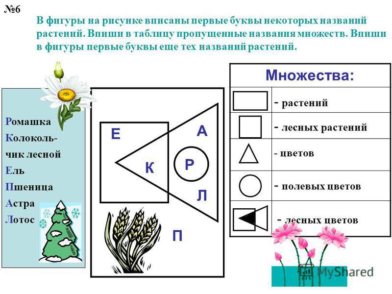 6 В фигуры на рисунке вписаны первые буквы некоторых названий растений. Впиши в таблицу пропущенные названия множеств. Впиши в фигуры первые буквы еще тех названий растений. Множества: - лесных цветов - растений - лесных растений - цветов - полевых ц