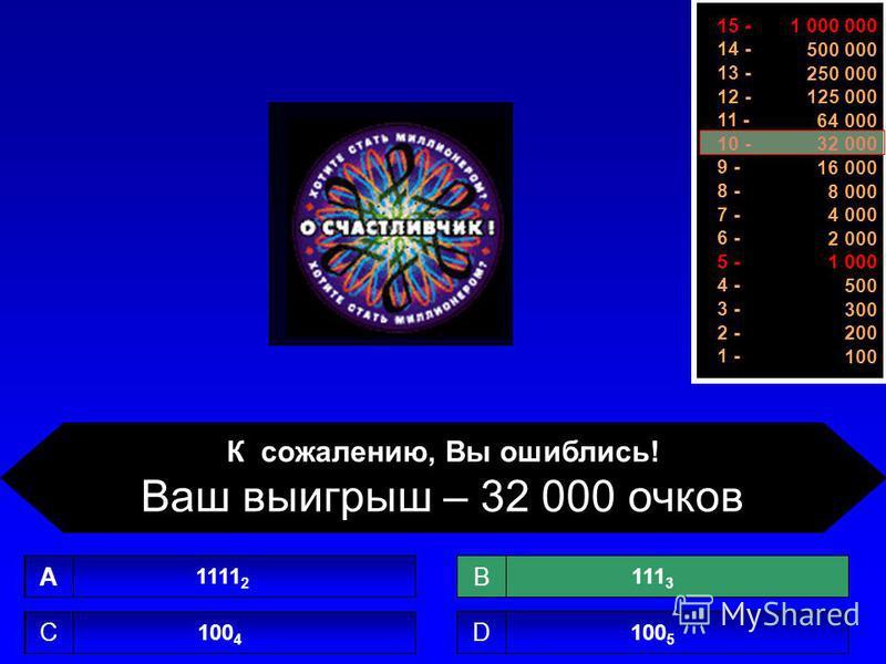 1 000 000 500 000 250 000 125 000 64 000 32 000 16 000 8 000 4 000 2 000 1 000 500 300 200 100 15 - 14 - 13 - 12 - 11 - 10 - 9 - 8 - 7 - 6 - 5 - 4 - 3 - 2 - 1 - 1 11 2 A 100 4 C 100 5 D 11131113 B К сожалению, Вы ошиблись! Ваш выигрыш – 32 000 очков