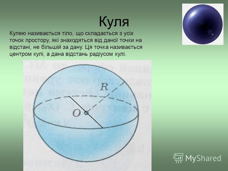 Куля Кулею називається тіло, що складається з усіх точок простору, які знаходяться від даної точки на відстані, не більшій за дану. Ця точка називається центром кулі, а дана відстань радіусом кулі.