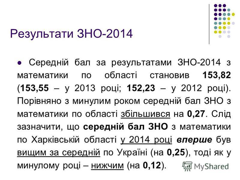 Результати ЗНО-2014 Середній бал за результатами ЗНО-2014 з математики по області становив 153,82 (153,55 – у 2013 році; 152,23 – у 2012 році). Порівняно з минулим роком середній бал ЗНО з математики по області збільшився на 0,27. Слід зазначити, що