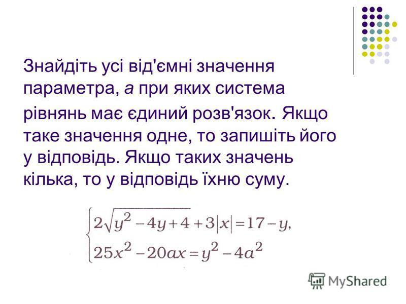 Знайдіть усі від'ємні значення параметра, а при яких система рівнянь має єдиний розв'язок. Якщо таке значення одне, то запишіть його у відповідь. Якщо таких значень кілька, то у відповідь їхню суму.