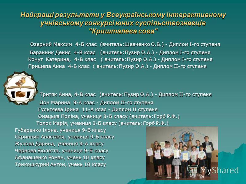 Найкращі результати у Всеукраїнському інтерактивному учнівському конкурсі юних суспільствознавців
