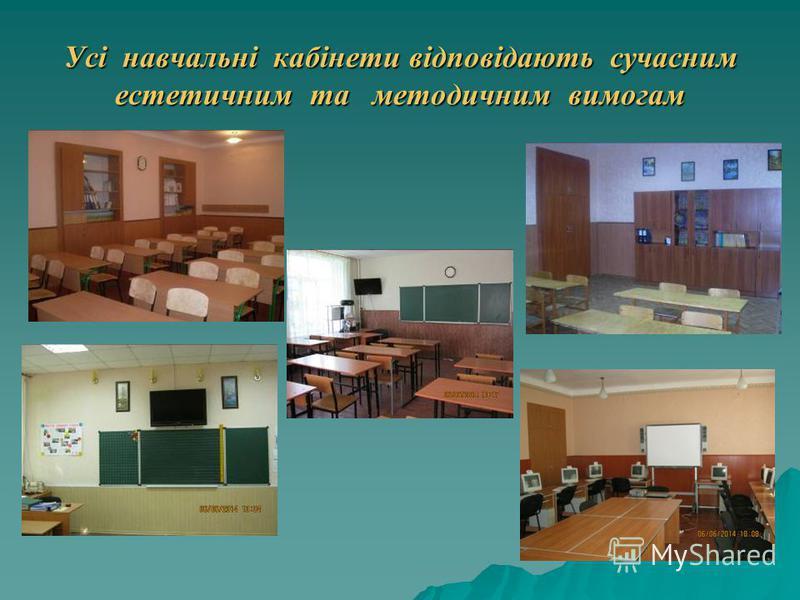 Усі навчальні кабінети відповідають сучасним естетичним та методичним вимогам