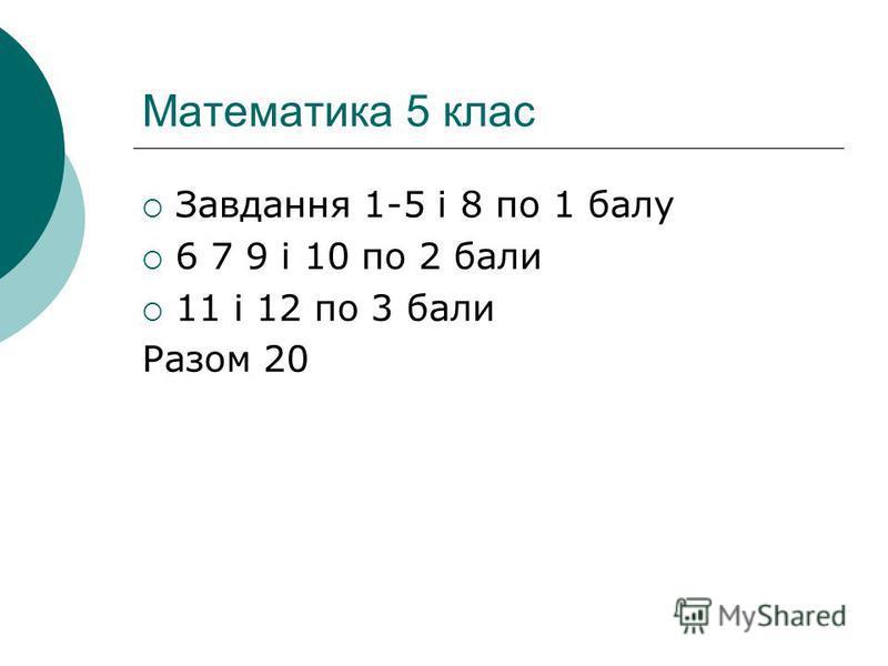 Математика 5 клас Завдання 1-5 і 8 по 1 балу 6 7 9 і 10 по 2 бали 11 і 12 по 3 бали Разом 20