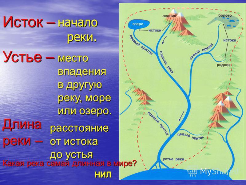начало реки. место впадения в другую реку, море или озеро. Исток – Устье – Длина реки – расстояние от истока до устья Какая река самая длинная в мире? НИЛ