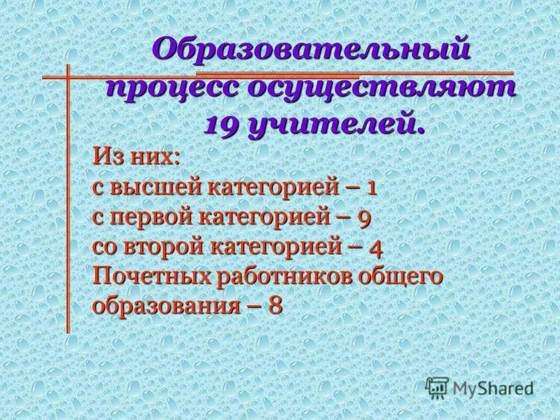 Образовательный процесс осуществляют 19 учителей. 19 учителей. Из них: с высшей категорией – 1 с первой категорией – 9 со второй категорией – 4 Почетных работников общего образования – 8
