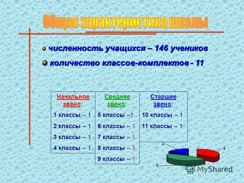 численность учащихся – 146 учеников количество классов-комплектов - 11 количество классов-комплектов - 11 Начальное звено: 1 классы – 1 2 классы – 1 3 классы – 1 4 классы – 1 Среднее звено: 5 классы –1 6 классы – 1 7 классы – 1 8 классы – 1 9 классы