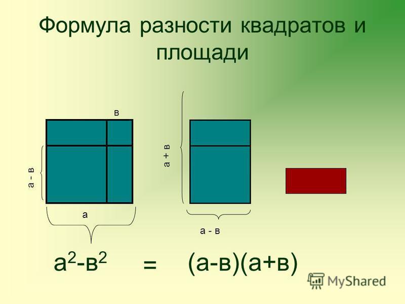 Формула разности квадратов и площади а в а - в а + в а 2 -в 2 = (а-в)(а+в)