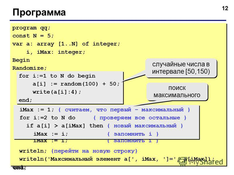 12 Программа program qq; const N = 5; var a: array [1..N] of integer; i, iMax: integer; Begin Randomize; writeln('Исходный массив:'); for i:=1 to N do begin a[i] := random(100) + 50; write(a[i]:4); end; iMax := 1; { считаем, что первый – максимальный