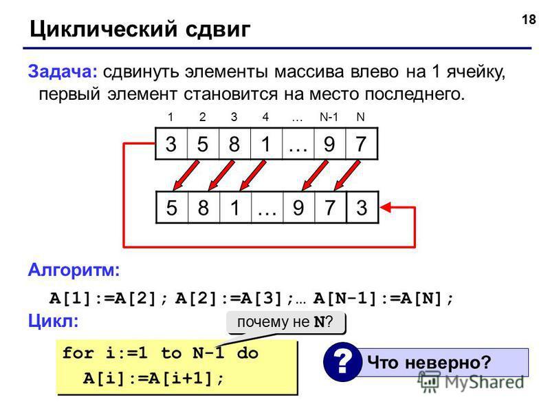 18 Циклический сдвиг Задача: сдвинуть элементы массива влево на 1 ячейку, первый элемент становится на место последнего. Алгоритм: A[1]:=A[2]; A[2]:=A[3];… A[N-1]:=A[N]; Цикл: 3581…97 1234…N-1N 581…973 for i:=1 to N-1 do A[i]:=A[i+1]; for i:=1 to N-1