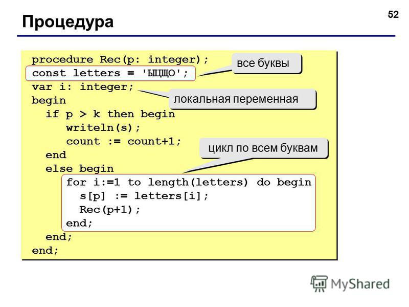 52 Процедура procedure Rec(p: integer); const letters = 'ЫЦЩО'; var i: integer; begin if p > k then begin writeln(s); count := count+1; end else begin for i:=1 to length(letters) do begin s[p] := letters[i]; Rec(p+1); end; procedure Rec(p: integer);