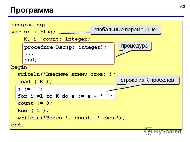 53 Программа program qq; var s: string; K, i, count: integer; begin writeln('Введите длину слов:'); read ( K ); s := ''; for i:=1 to K do s := s + ' '; count := 0; Rec ( 1 ); writeln('Всего ', count, ' слов'); end. program qq; var s: string; K, i, co