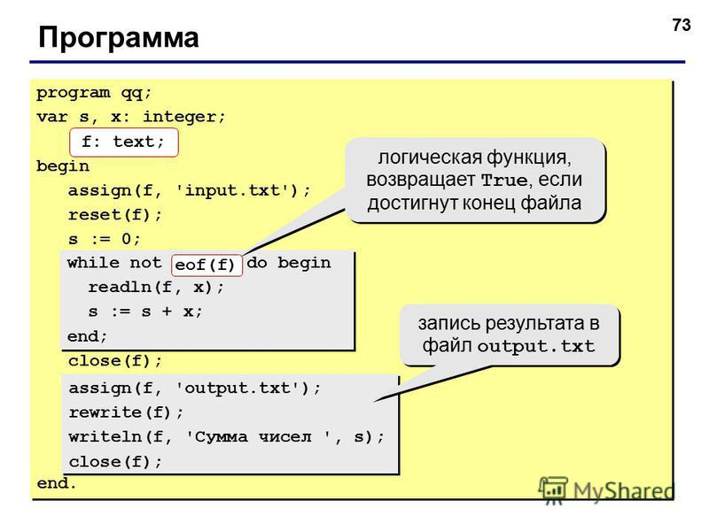 73 Программа program qq; var s, x: integer; f: text; begin assign(f, 'input.txt'); reset(f); s := 0; close(f); end. program qq; var s, x: integer; f: text; begin assign(f, 'input.txt'); reset(f); s := 0; close(f); end. while not eof(f) do begin readl