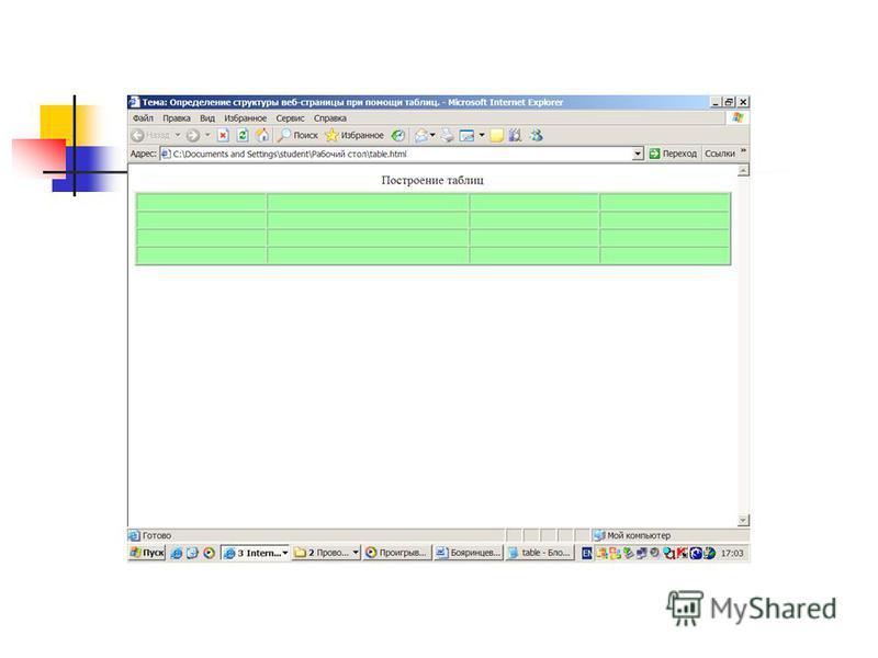Table(таблица) Тема: Определение структуры веб-страницы при помощи таблиц. Построение таблиц