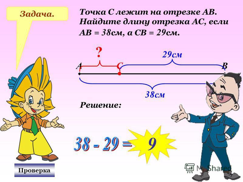 Задача. Точка С лежит на отрезке АВ. Найдите длину отрезка АС, если АВ = 38 см, а СВ = 29 см. АВС 38 см 29 см ? Проверка Решение: 9