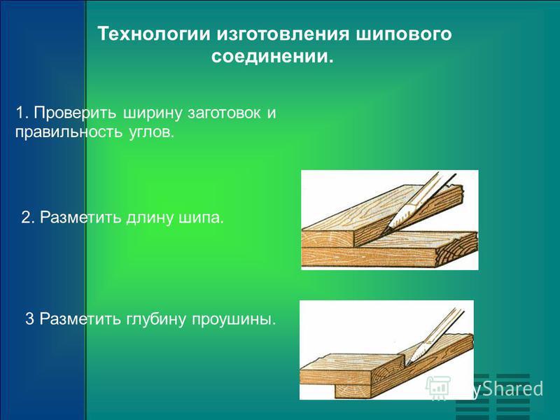 Технологии изготовления шипового соединении. 1. Проверить ширину заготовок и правильность углов. 2. Разметить длину шипа. 3 Разметить глубину проушины.