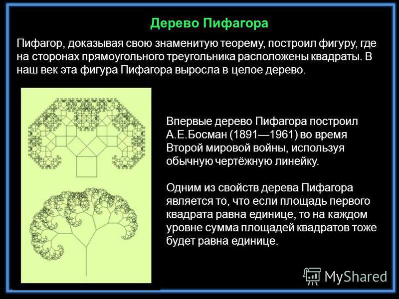 Пифагор, доказывая свою знаменитую теорему, построил фигуру, где на сторонах прямоугольного треугольника расположены квадраты. В наш век эта фигура Пифагора выросла в целое дерево. Впервые дерево Пифагора построил А.Е.Босман (18911961) во время Второ
