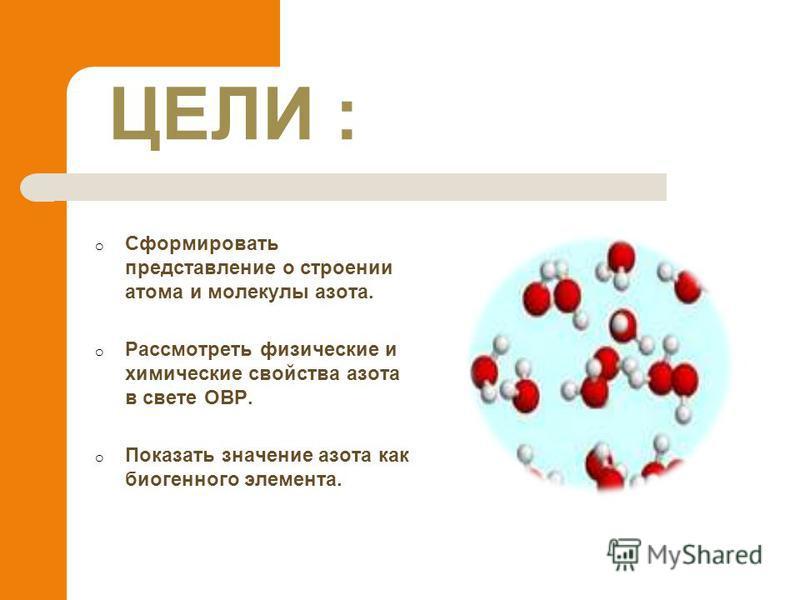 ЦЕЛИ : o Сформировать представление о строении атома и молекулы азота. o Рассмотреть физические и химические свойства азота в свете ОВР. o Показать значение азота как биогенного элемента.