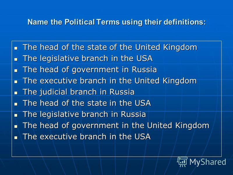 Name the Political Terms using their definitions: The head of the state of the United Kingdom The head of the state of the United Kingdom The legislative branch in the USA The legislative branch in the USA The head of government in Russia The head of