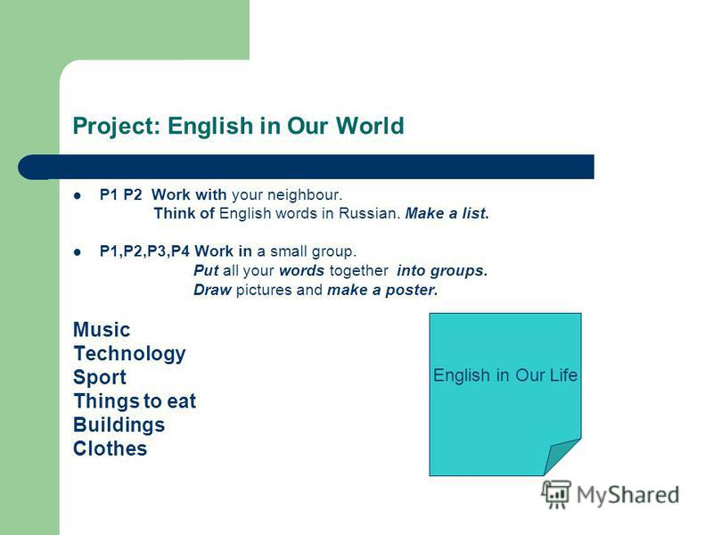Project: English in Our World P1 P2 Work with your neighbour. Think of English words in Russian. Make a list. P1,P2,P3,P4 Work in a small group. Put all your words together into groups. Draw pictures and make a poster. Music Technology Sport Things t