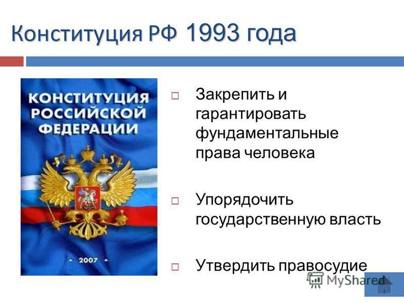 Конституция РФ 1993 года Закрепить и гарантировать фундаментальные права человека Упорядочить государственную власть Утвердить правосудие