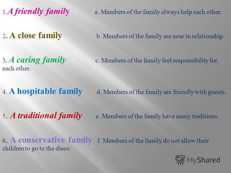 1. A friendly family a. Members of the family always help each other. 2. A close family b. Members of the family are near in relationship. 3. A caring family c. Members of the family feel responsibility for each other. 4. A hospitable family d. Membe