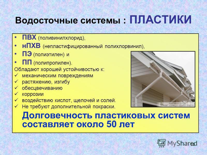 14 Водосточные системы : ПЛАСТИКИ ПВХ (поливинилхлорид), нПХВ (непластифицированный полихлорвинил), ПЭ (полиэтилен) и ПП (полипропилен). Обладают хорошей устойчивостью к: механическим повреждениям растяжению, изгибу обесцвечиванию коррозии воздействи