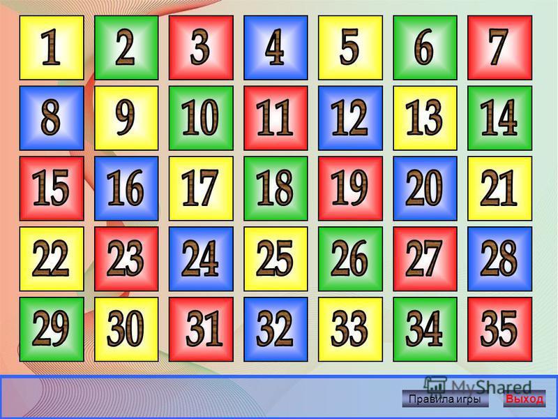 Начать игру 1. Выбери ячейку с номером и щёлкни по нему мышкой. 2. Прочитай вопрос. 3. Время на обдумывание – 5 секунд. 4. После звукового сигнала дай устный ответ. 5. За каждый правильный ответ 10 баллов. 6. Чтобы узнать правильный ответ, щёлкни мыш