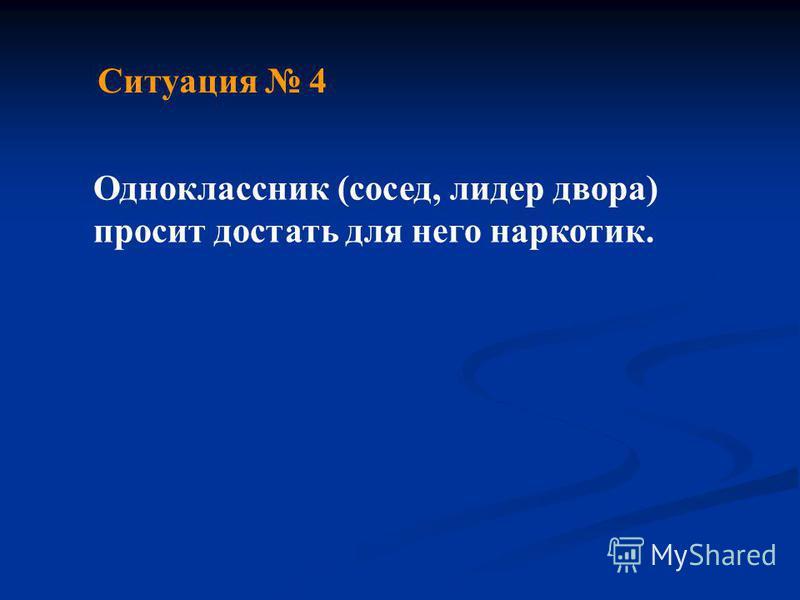 Ситуация 4 Одноклассник (сосед, лидер двора) просит достать для него наркотик.
