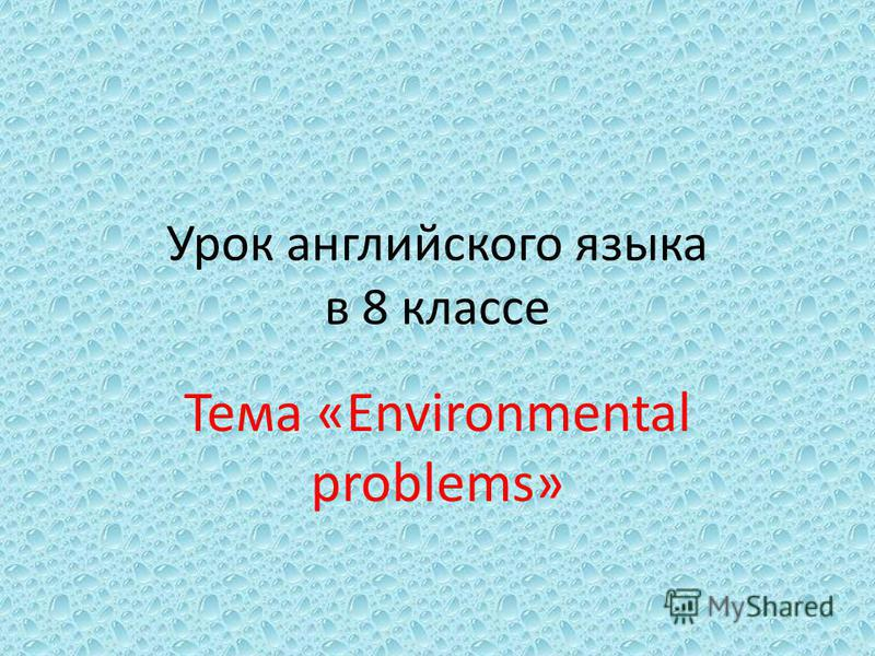 Урок английского языка в 8 классе Тема «Environmental problems»