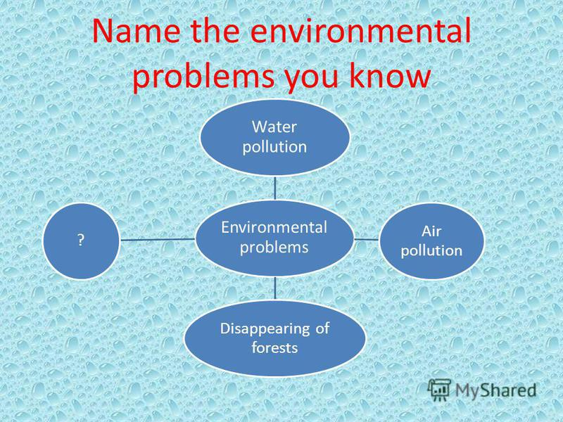 Name the environmental problems you know Environmental problems Water pollution Air pollution Disappearing of forests ?