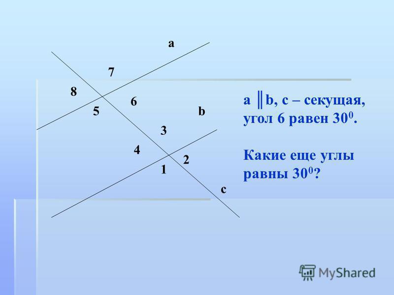 a b, c – секущая, угол 6 равен 30 0. Какие еще углы равны 30 0 ? а 8 6 7 5 3 4 1 b 2 c