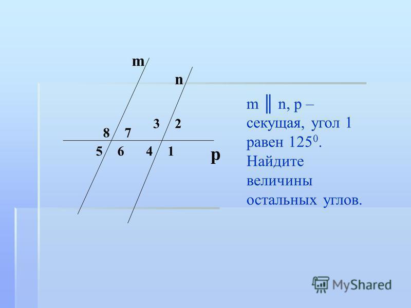 m n, p – секущая, угол 1 равен 125 0. Найдите величины остальных углов. m 8 6 7 5 3 41 n 2 p