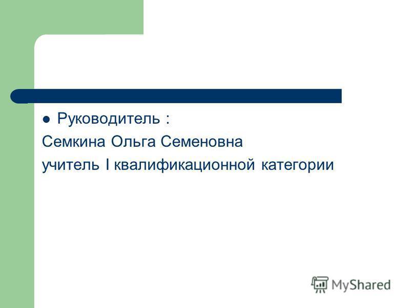 Руководитель : Семкина Ольга Семеновна учитель I квалификационной категории